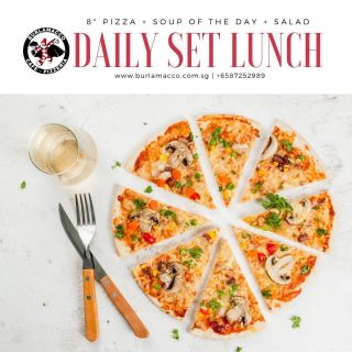 """Quick lunch doesn't have to be boring! ⠀ ⠀ Treat yourselves to an 8"""" pizza + soup of the day with salad for only $18/person. Call us at 87252989 for reservations."""