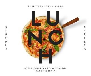"""Salad + soup of the day, 8"""" pizza and a beverage. Our Set Lunch is available for you from Monday to Saturday for only $18!"""