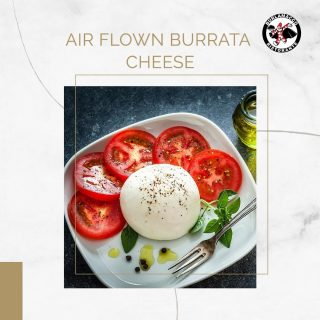 Our airflown Burrata is a freshly stretched cheese with a very creamy texture paired well with the tanginess of the tomatoes. 🍅🧀  This dish is light on the palate and it's a great way to start off your meal! ☀️
